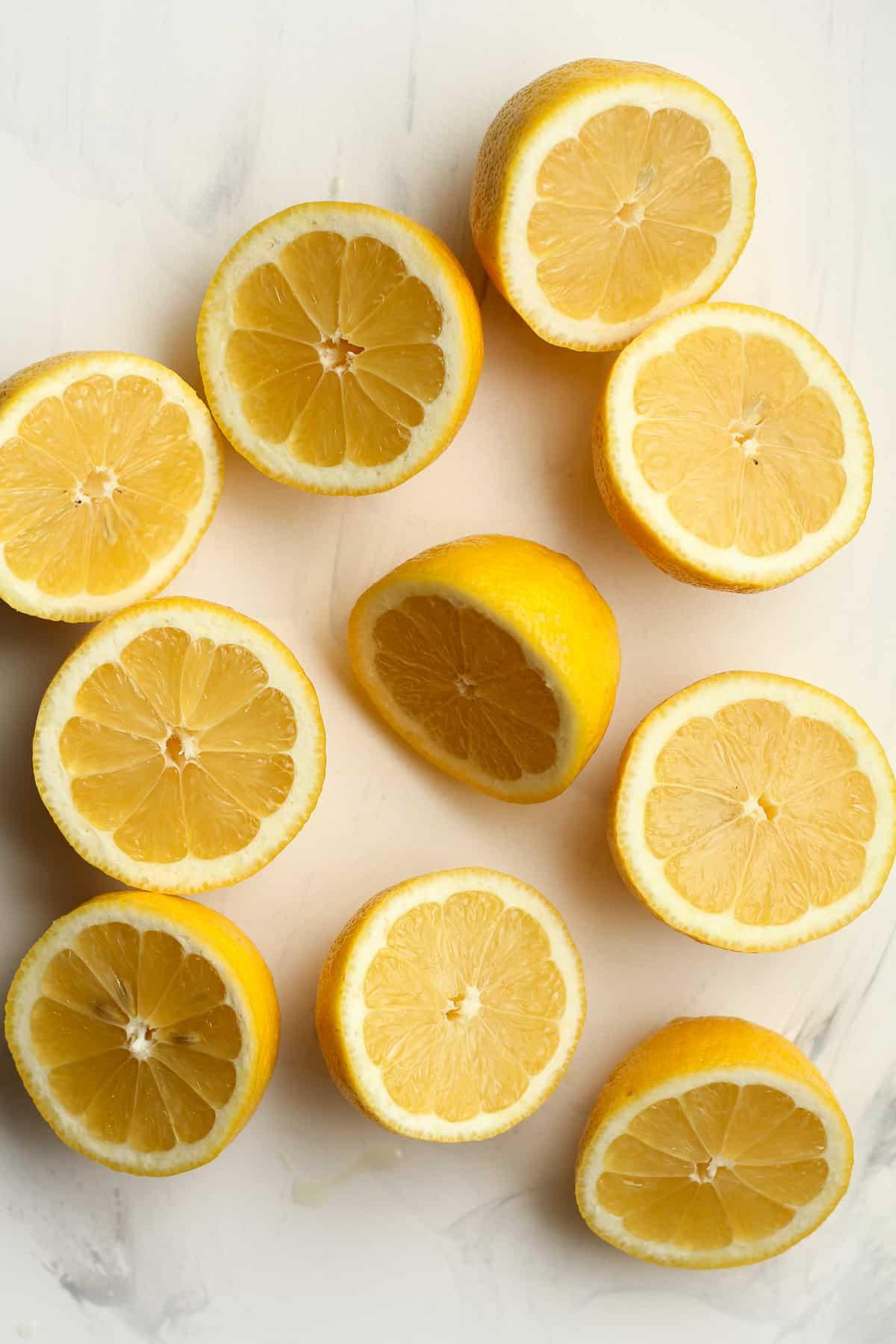 Overhead shot of 1/2 lemons.