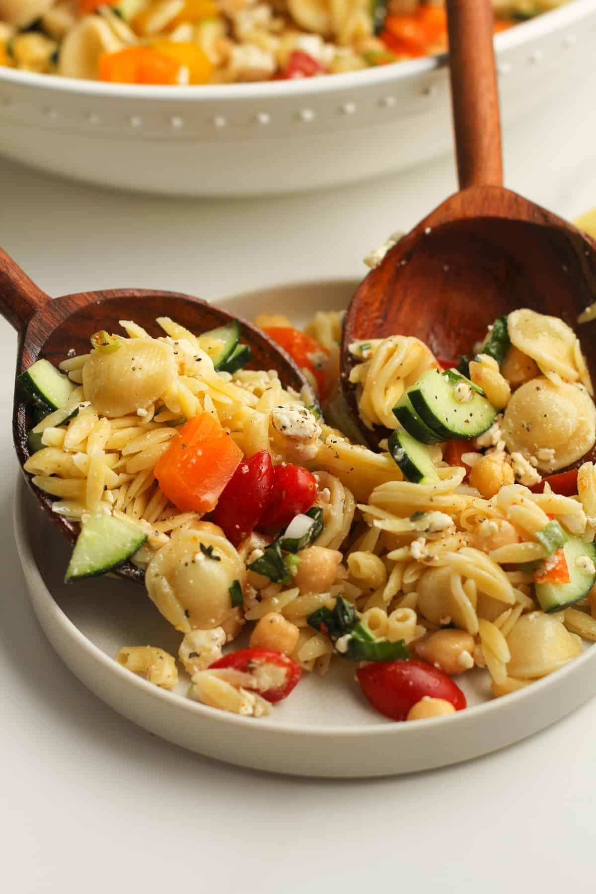 Side shot of a plate of pasta salad being served.