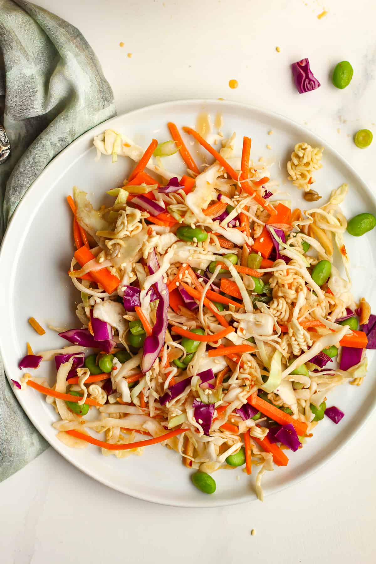 A plate of a serving of Asian Cabbage Salad.