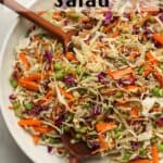 A large bowl of crunchy Asian Cabbage Salad.