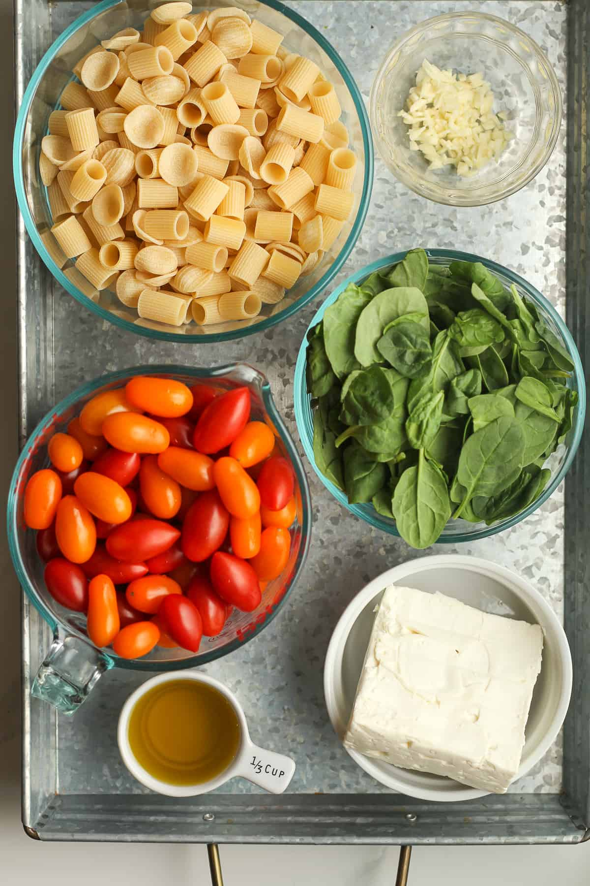 A tray of the pasta ingredients.