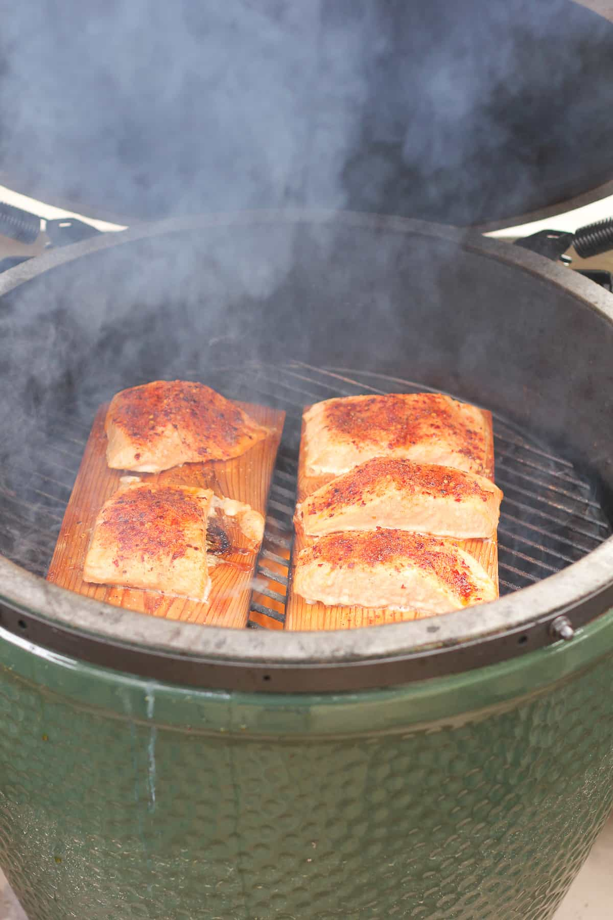 Side shot of a BGE with cedar plank salmon.
