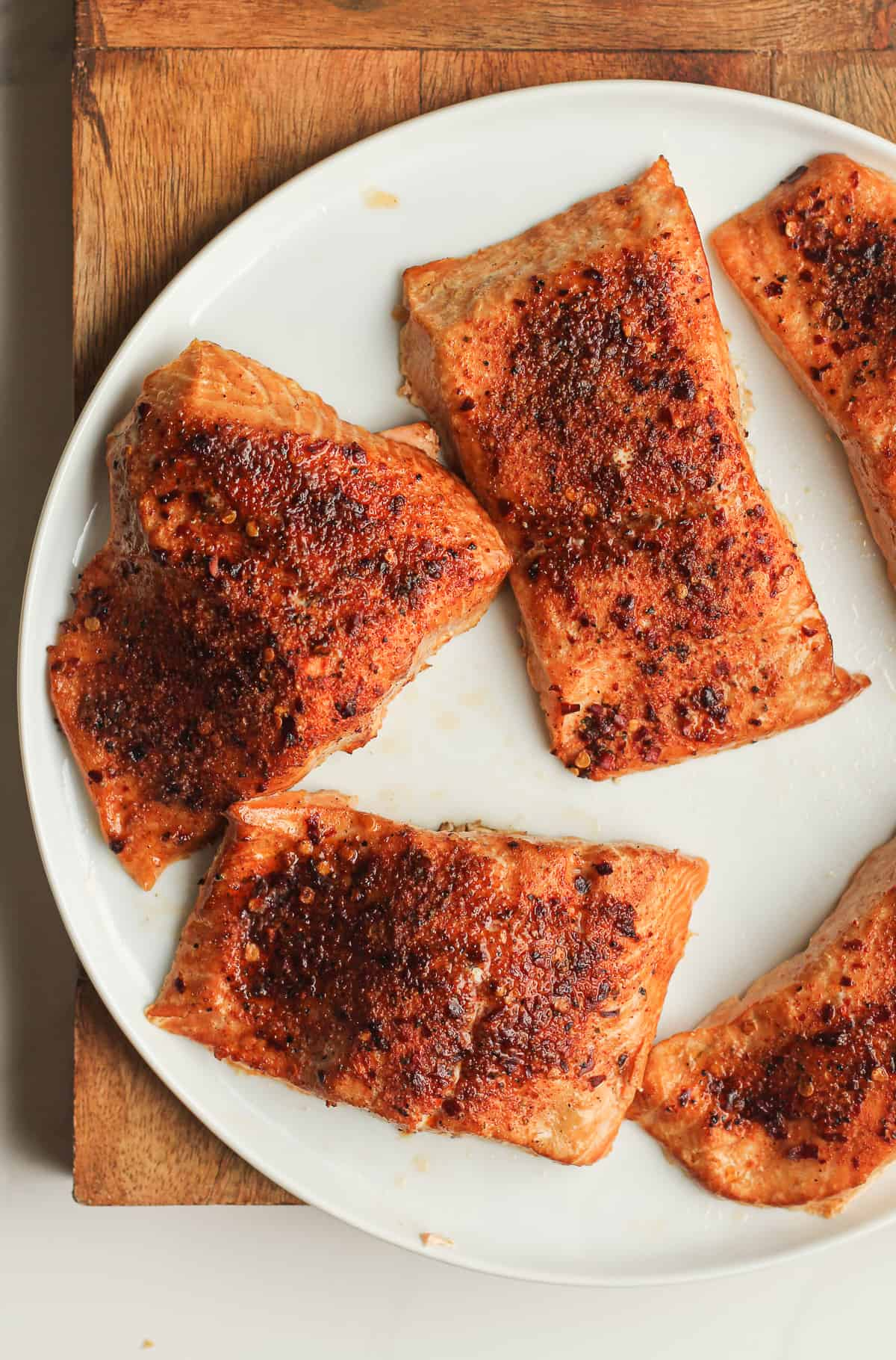 A plate of cedar plank salmon.