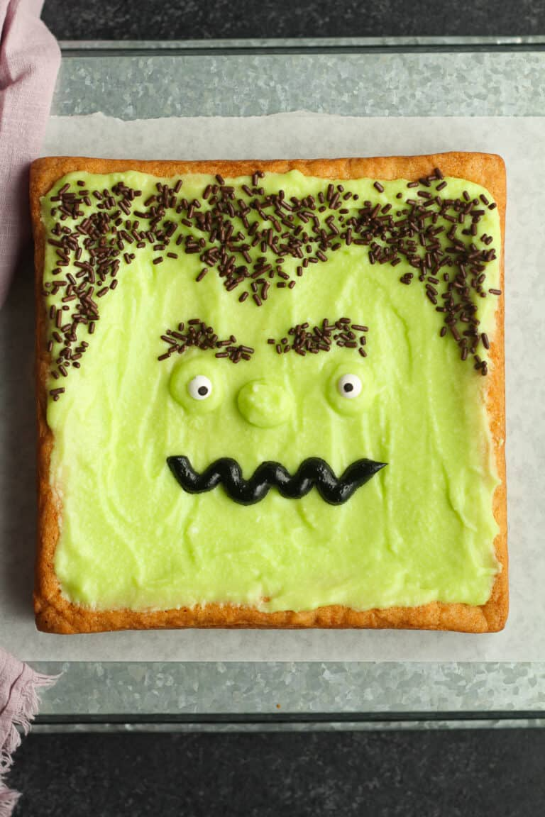 A square of Frankenstein cake.