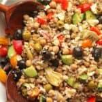 Closeup on Greek farro salad.