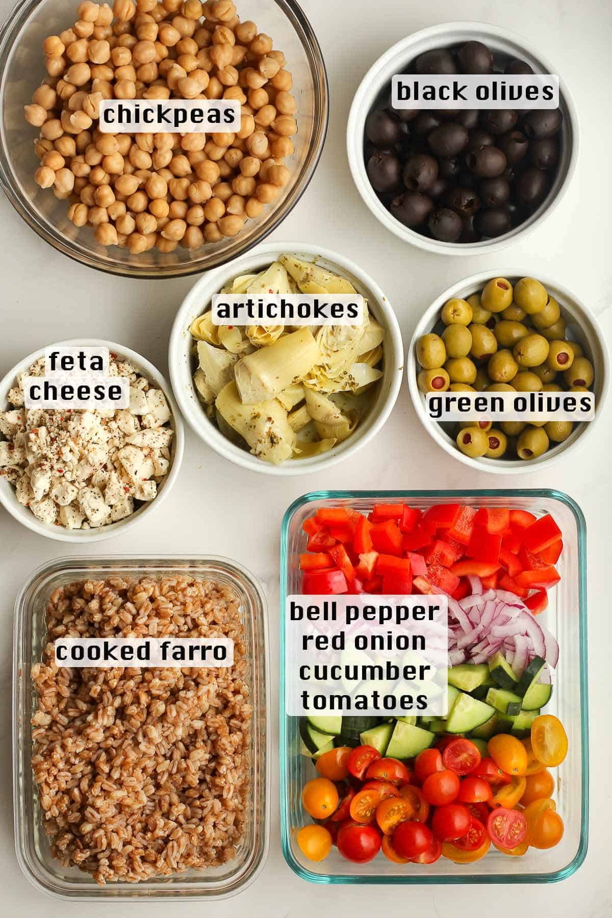 The Loaded Greek Salad ingredients with labels.