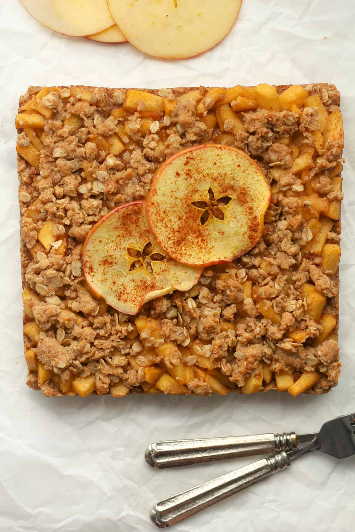 A square of just baked apple bars.