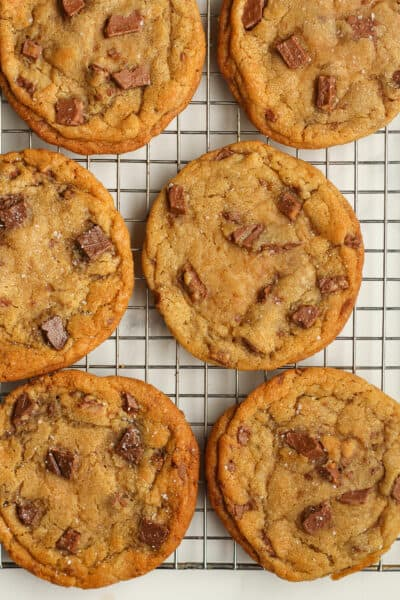 Closeup on some toffee cookies.