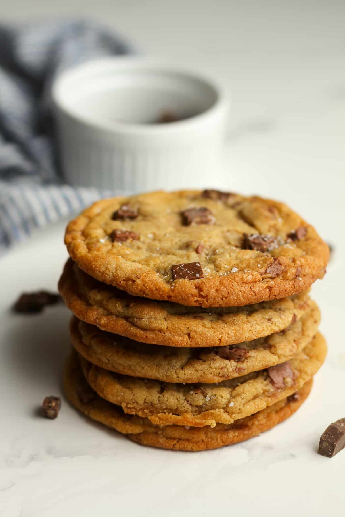 Side shot of a stack of toffee cookies.
