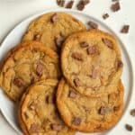 A plate of brown butter toffee cookies.
