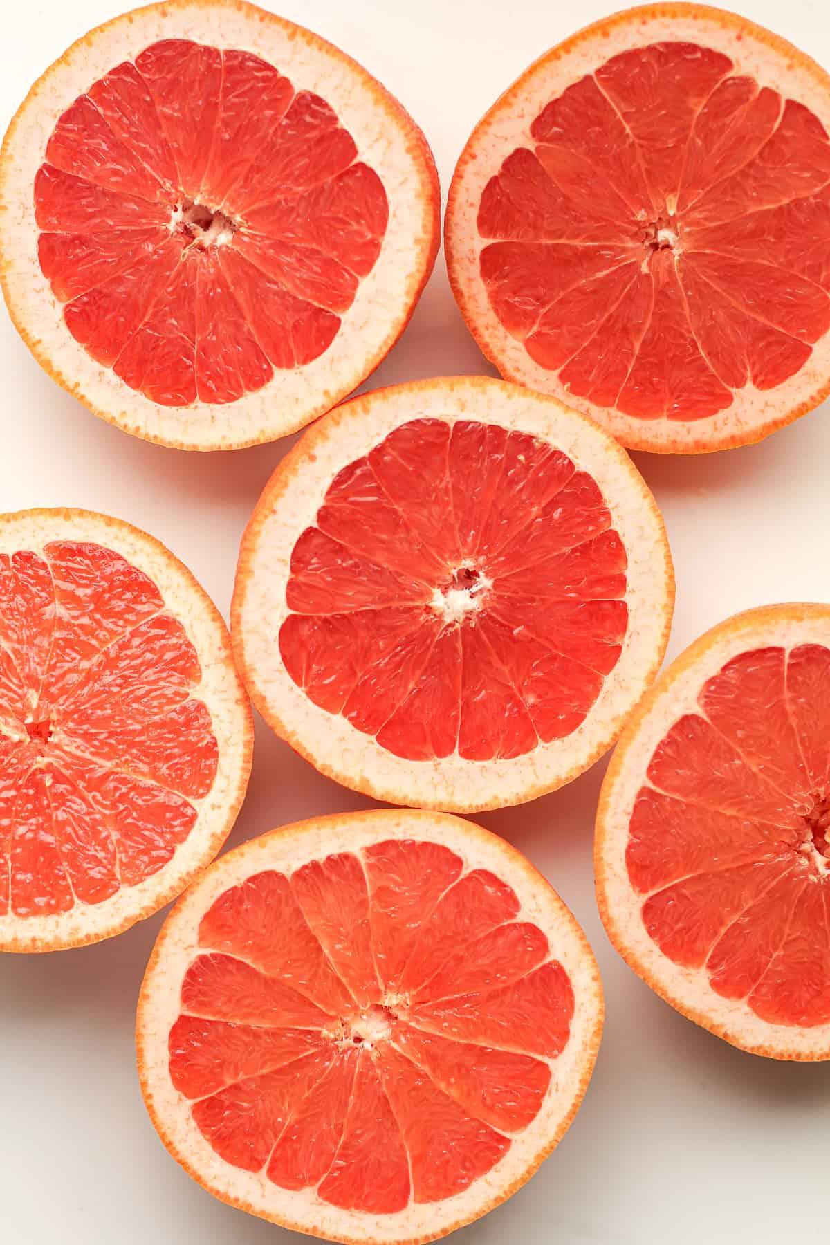 Grapefruit halves facing up.