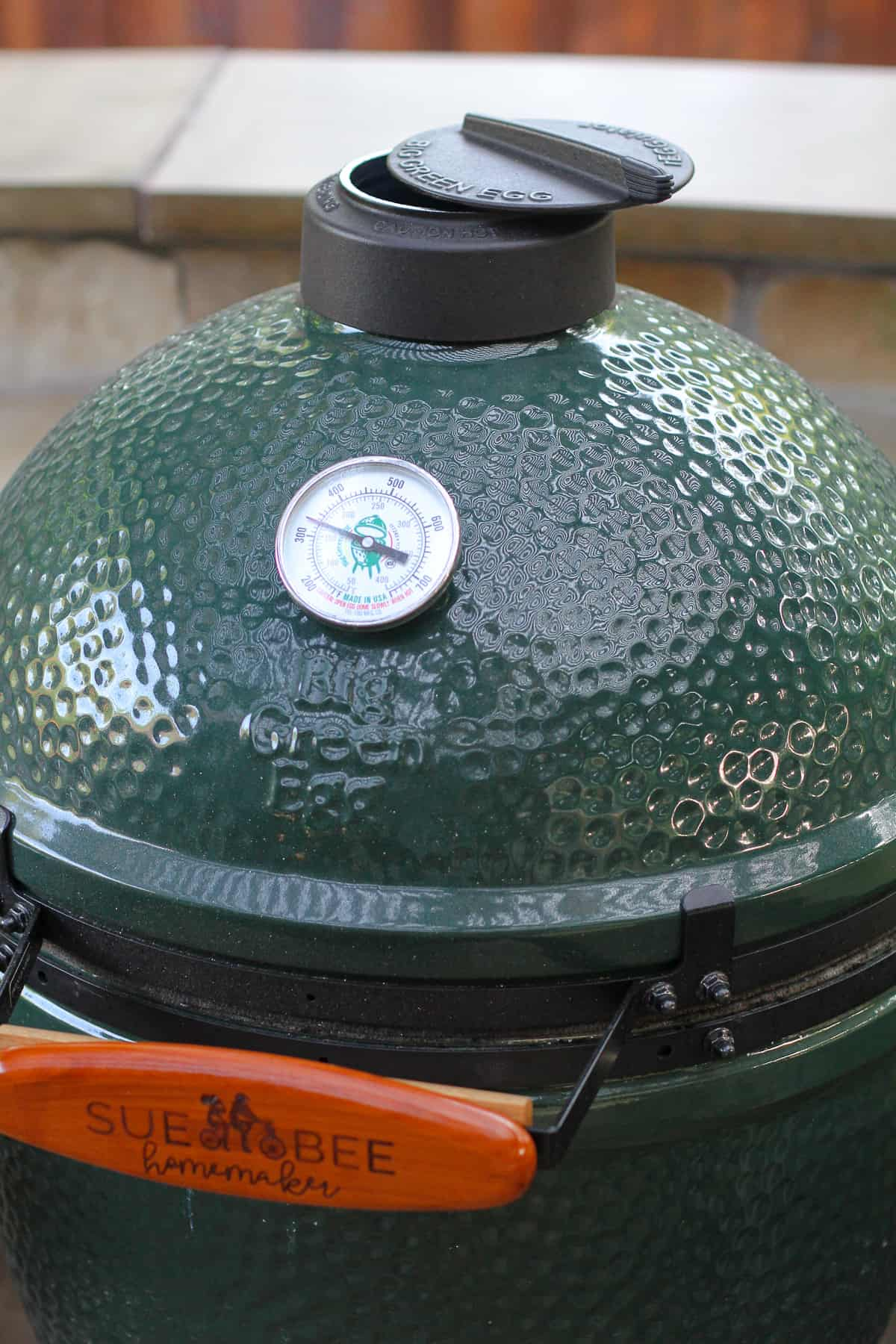 Our Big Green Egg heated to 350 degrees.