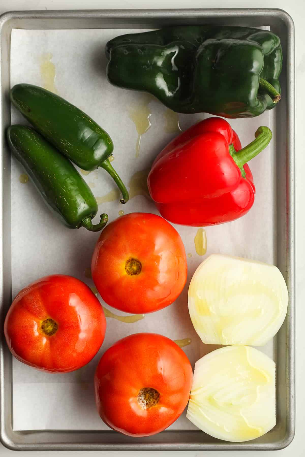 A pan of the veggies for the salsa.