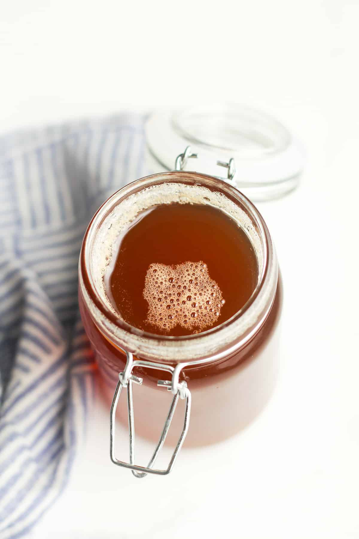 A jar of honey simple syrup.