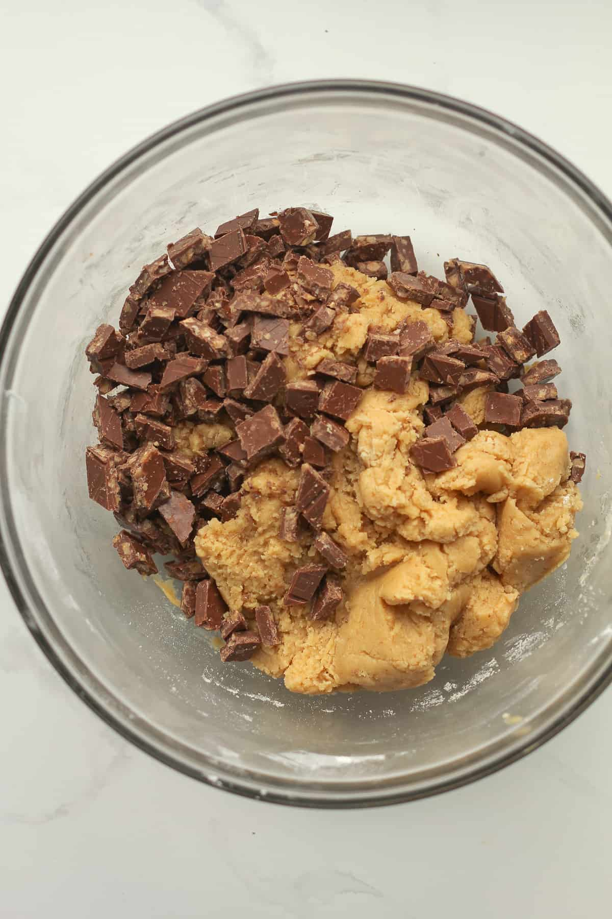 A bowl of the cookie dough.