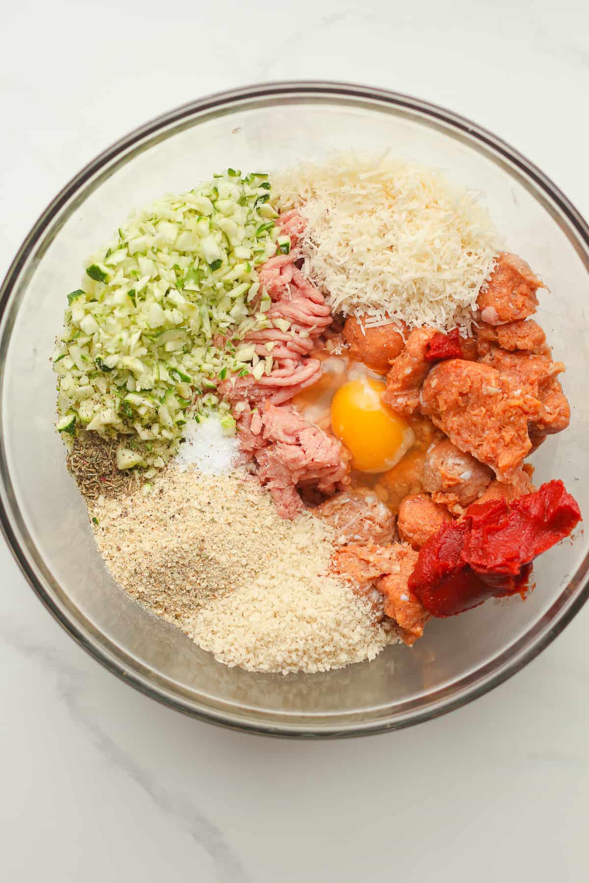 The turkey meatball ingredients.