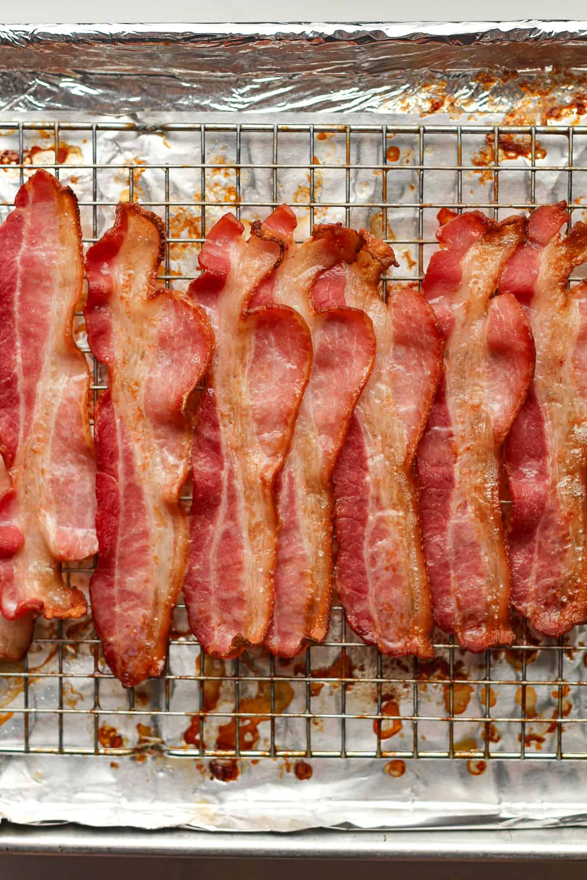 A pan of baked bacon.