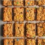 Sliced monster cookie bars.