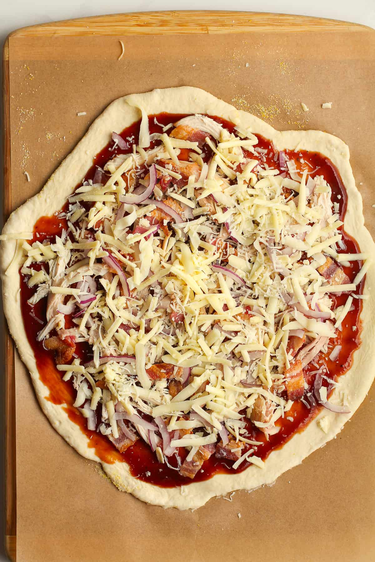 The pizza before cooking.