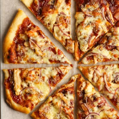 Overhead shot of a sliced bbq chicken pizza.