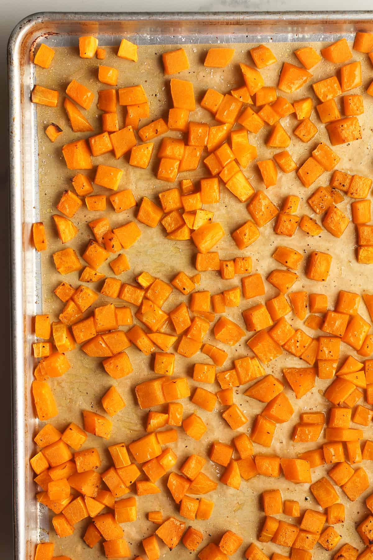 The baked butternut squash, cubed.