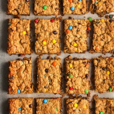 Overhead shot of some monster cookie bars.