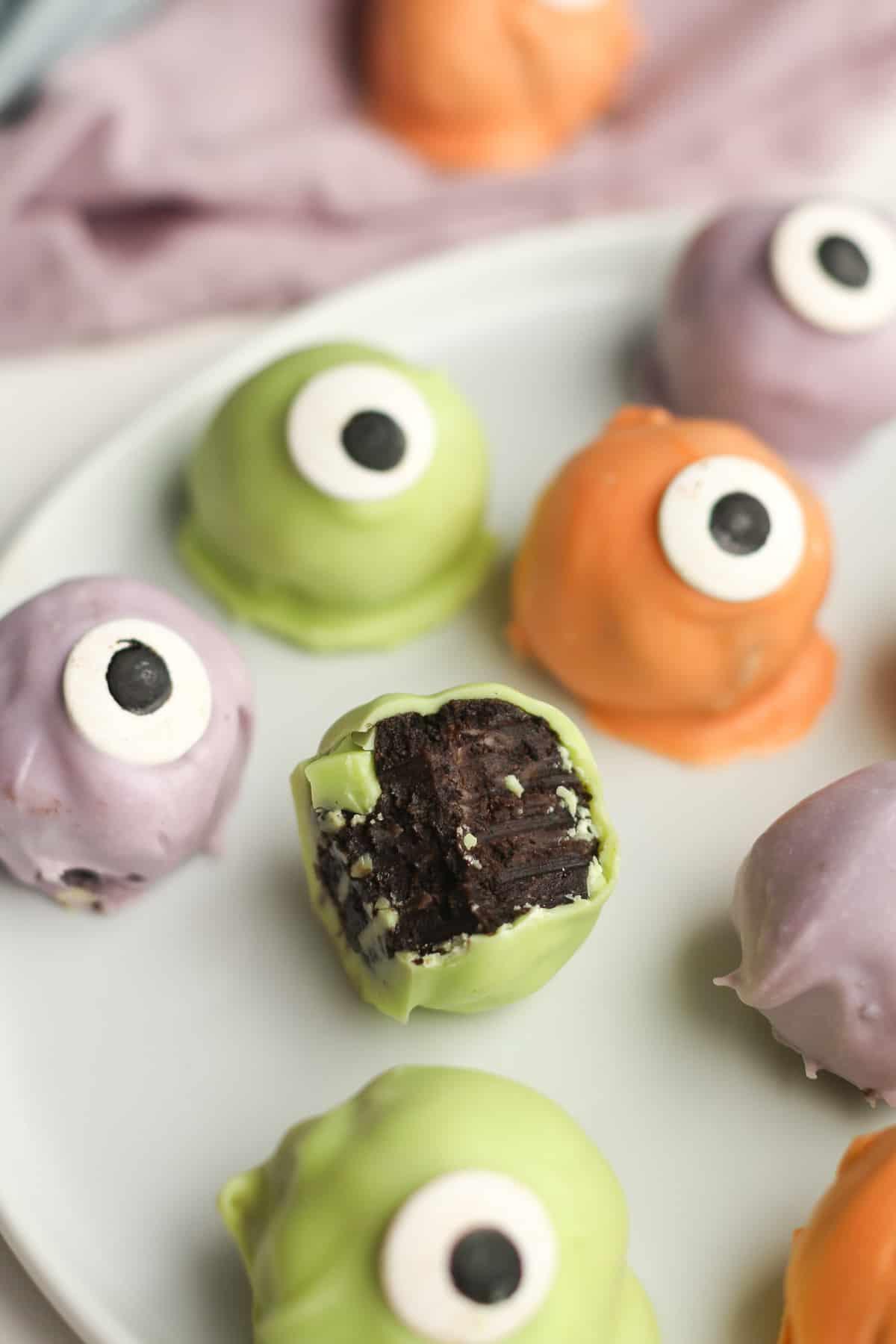 Closeup shot on an Oreo cookie eyeball that's partially eaten.