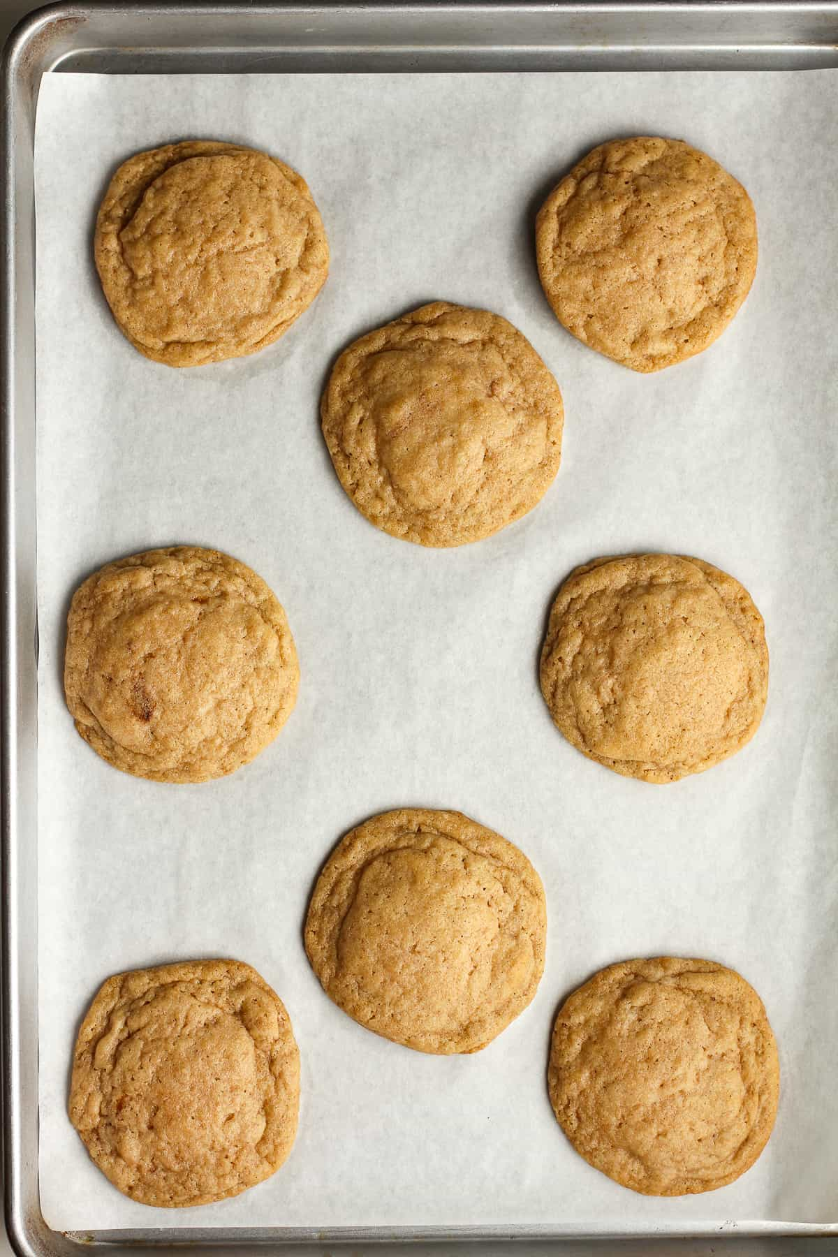 A pan of just baked cookies.