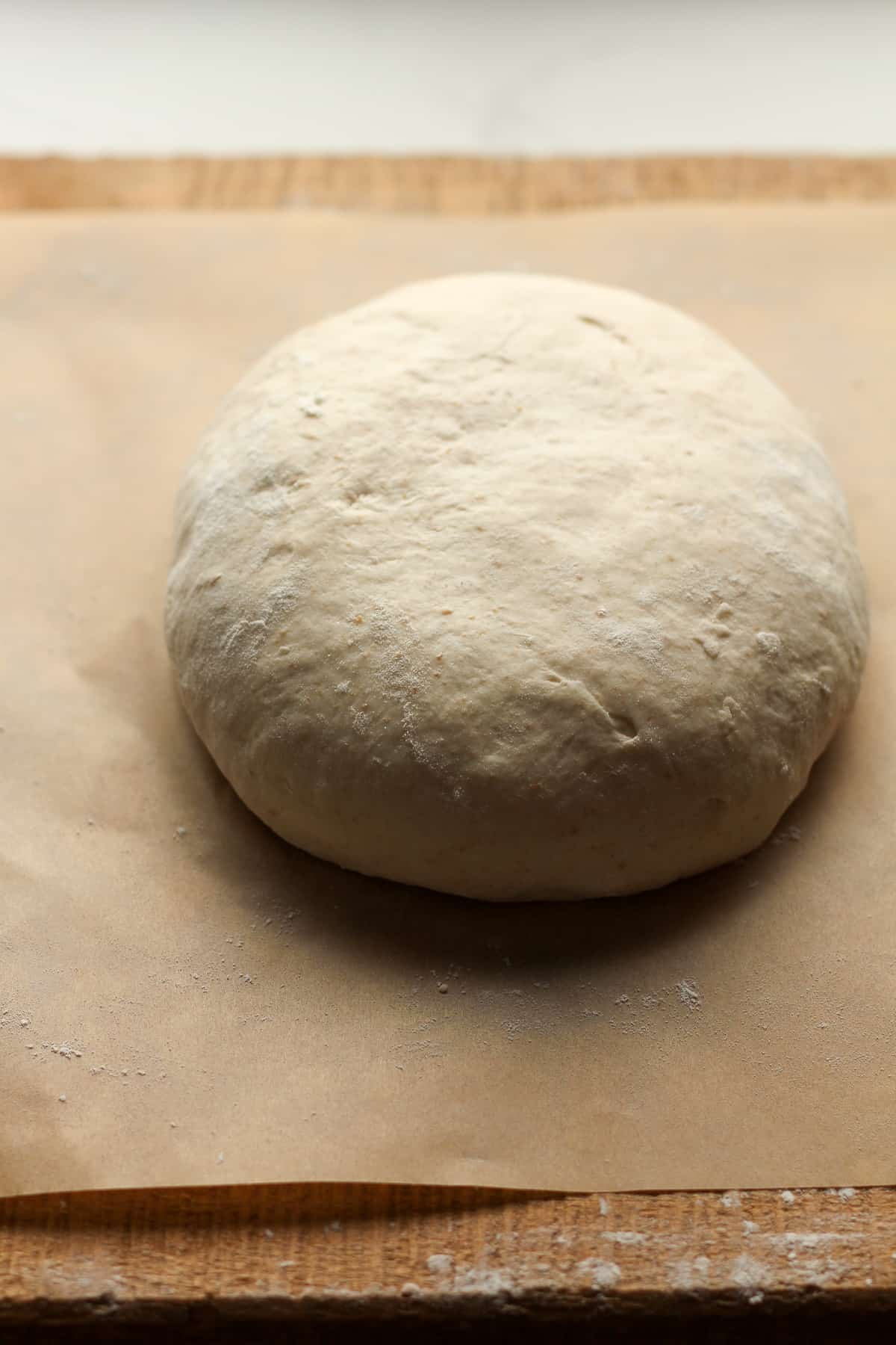 A round of sourdough, from the side.