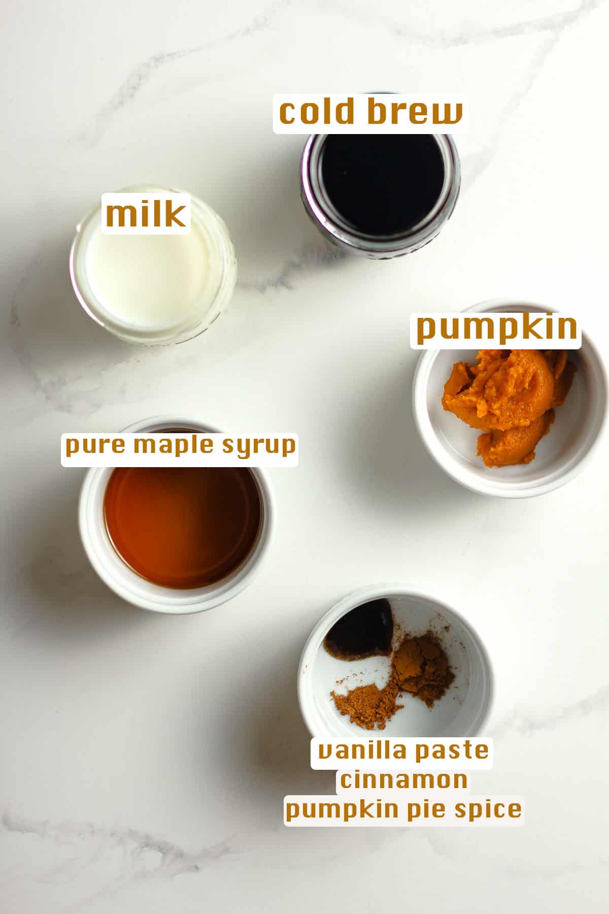 The pumpkin cold brew ingredients.