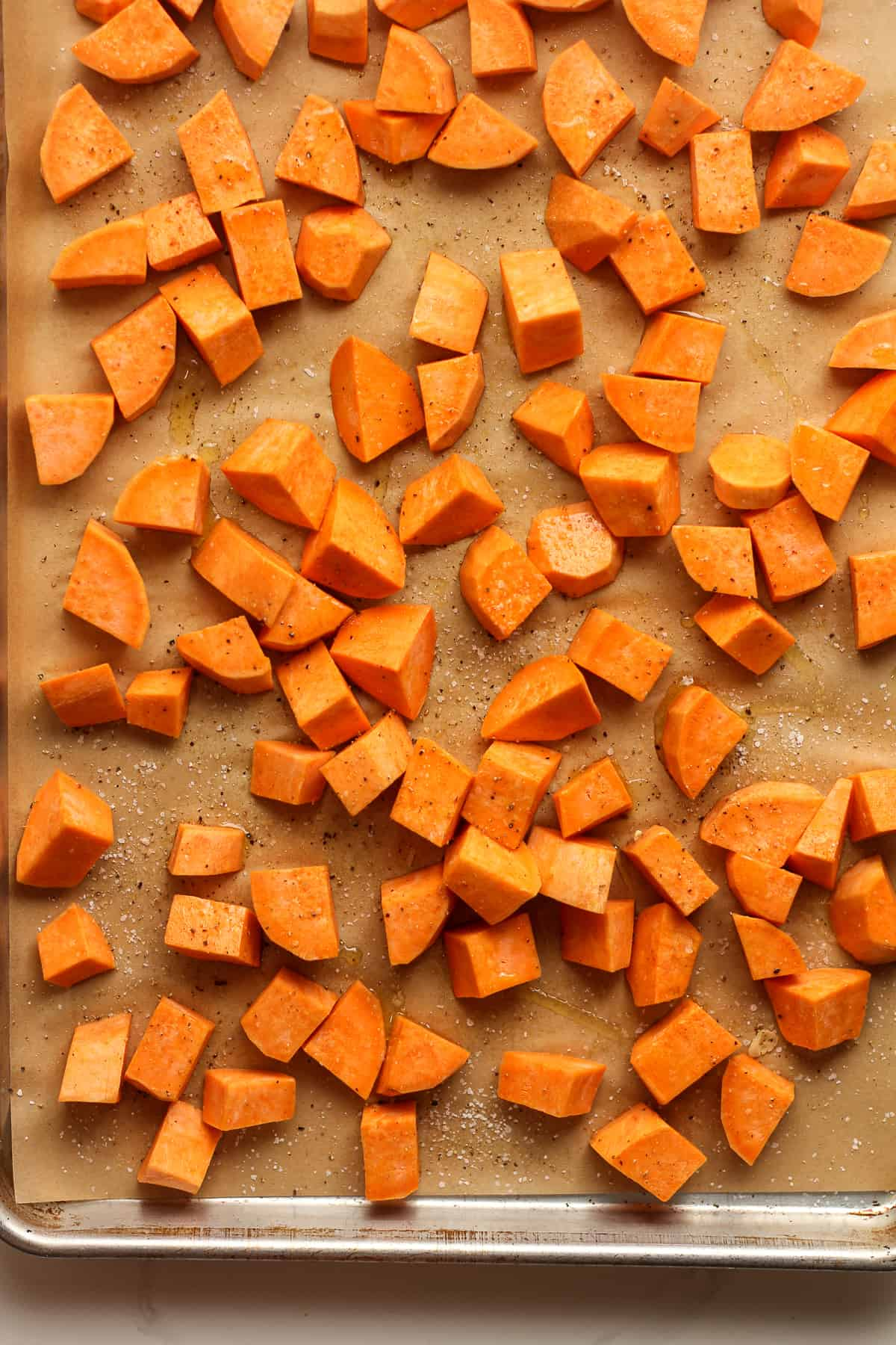 The raw chopped sweet potatoes.