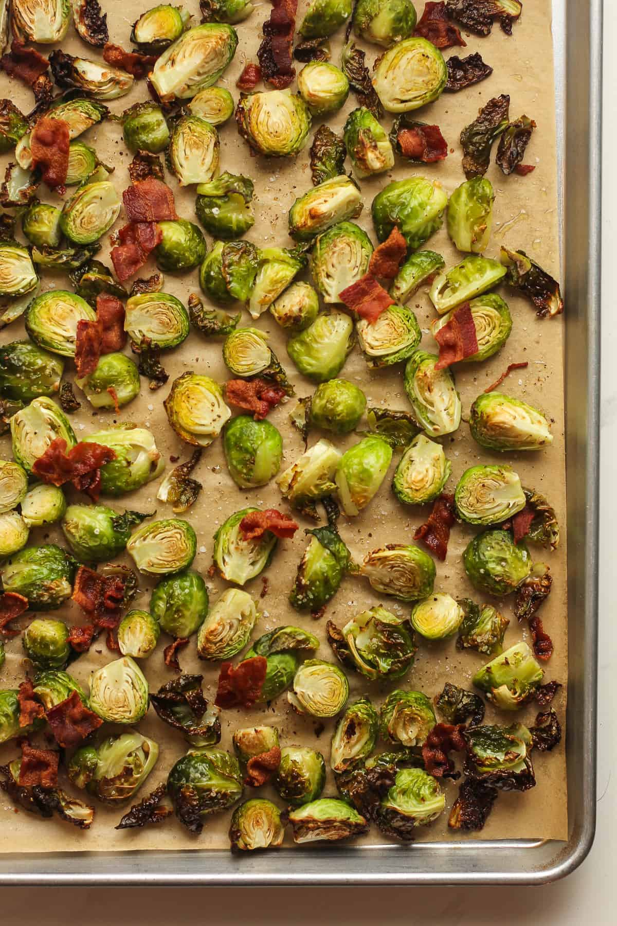 A pan of the roasted Brussels sprouts and bacon.