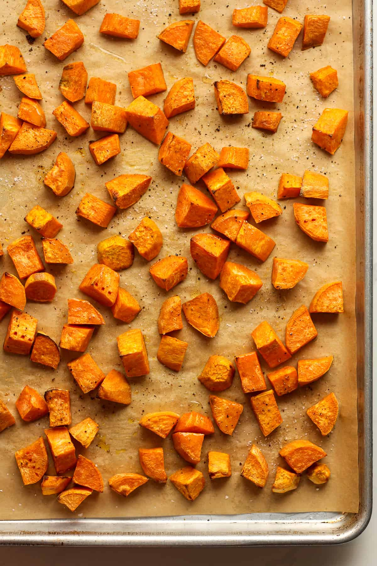 A pan of the roasted sweet potatoes.