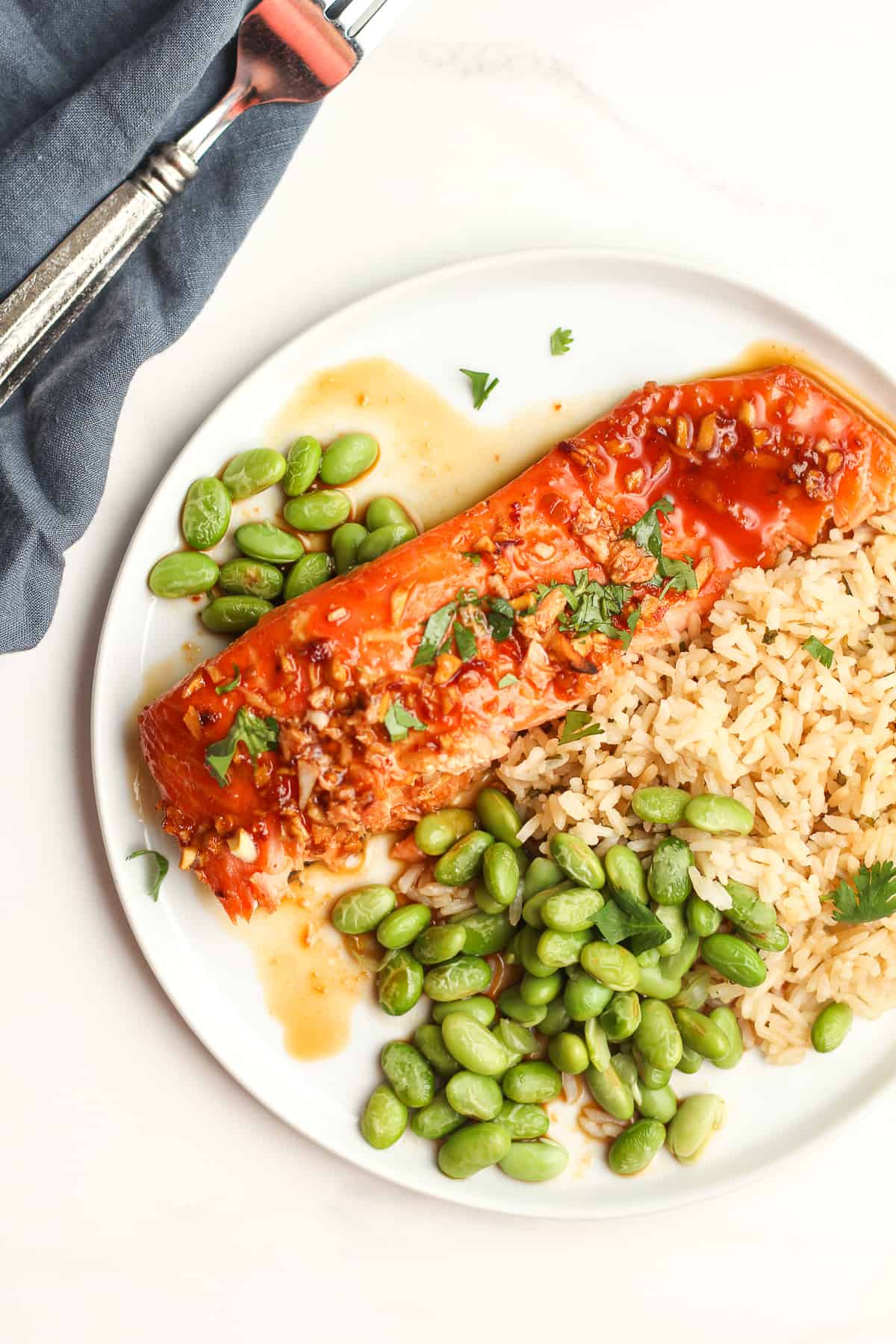 A plate of of salmon, rice and edamame.