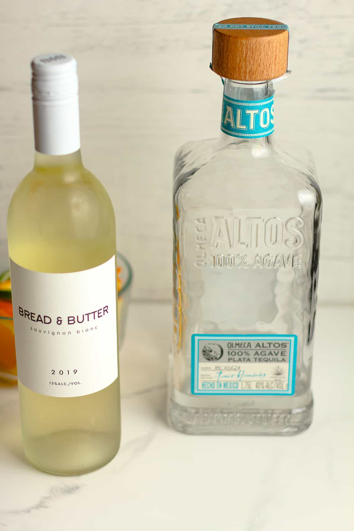 A side shot of the tequila and wine used.